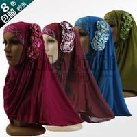 arab head scarf styles - Hot sale new style fashion Islamic Turban Head Wear hat flower Muslim Hijab Shawls Arab Women Scarf