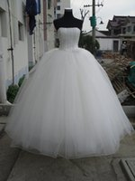 Wholesale Beaded Strapless Ball Gown Wedding Dress Lace Up Wedding Gowns Floor Length Bridal Gowns Real Photo