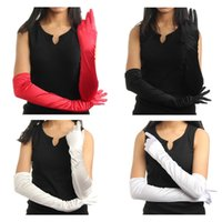 Wholesale 2015 Hot Sell Fashion Design Women Arm Long Satin Finger Elbow Evening Party Bridal Wedding Opera Formal Gloves Four Colors