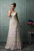 Cheap Newest Amelia Sposa Wedding Dresses V-Neck 2015 Spring White Lace Sheer Cheap A-Line Hollow Back Bridal Dresses Ball Gowns Chapel Train