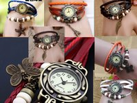 Wholesale 7 types Leather Vintage Watches bracelet Retro Quartz Weave Wrap Around Leather Bracelet Bangle Womens Leaf Women Girls LADIES Wrist Watch