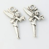 antique fairy - New Hot sell Antique Silver Flying Tinker Bell Fairy Charms Pendants Jewelry DIY x13 mm L130