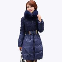 Wholesale 2016 New Fashion Winter New parka Influx Plus Size Women Thick Fox Fur Collar Long Down Jacket Slim Down Coat YBZ005