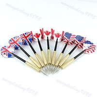 Wholesale 9PCS Tip Copper Darts Needle National Flag Flights Play Dart Steel Throwing Toy
