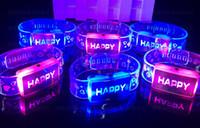 Wholesale Flashing bracelet Christmas Halloween party events watch design happy flash bracelets wristbands men women kids children bracelet gift