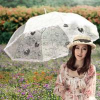 Wholesale New PVC Lace Bridal Parasols Long handled Transparent Wedding Umbrellas Photography props cm Diameter Beautiful Retro Bridal Accessories