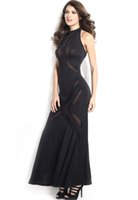 glam - 2014 New Summer Party Maxi Dress Glam White Black Red Mesh Pattern Hourglass Evening Dress B4675