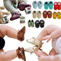 Wholesale Baby moccasin toddler non slip Genuine Leather tassel shoes boots fashion kids girl boy handmade First Walker soft Shoes M colors gift