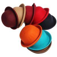 Wholesale 12 colors women wool felt hat curling hat winter fashion vintage dome caps round hat skullcaps Small Fedora Hats jazz hat
