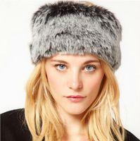 Wholesale New Fashion Winter Hats for Women Faux Fur Hat Russian Cossack Style Ear Warmer Ski Hat Headband Headwear Cap Grey GA0134