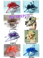 Headbands fascinator hat - HOT Sinamay Fascinator hat in SPECIAL Shape with Feather for wedding church races party colors