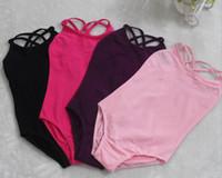 Wholesale Summer Girls ballet clothing stage wear double straps kids dance clothes cotton vest leotard dress solid solid colors