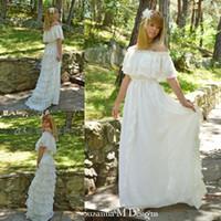 gypsy wedding dresses - Vintage Lace Ivory Bohemian Wedding Dresses Off the Shoulder Cacading Ruffle Hippie Wedding Gowns Maxi Gypsy Girl Boho Bridal Dress