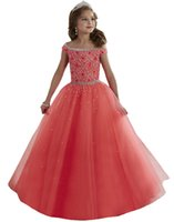 Wholesale Holy Communion Dresses Cap Sleeves Prom Dress Children Flower Girls Ball Gown Crystal Beads Pageant Dresses for Little Girls