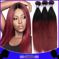 Cheap New Ombre straight hair Best red and black Ombre Human Hair Weave