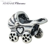 Cheap Wholesale-ATHENAIE 925 Sterling Silver Baby Carriage Charms Bead Fit All European Bracelets Fine Jewelry