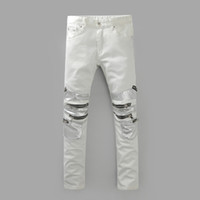 designer plus size - Knee Multi Zippers White balmain Biker Jeans for Men Famous Designer istressed jeans men Brand Slim Fit Denim Pants Plus size