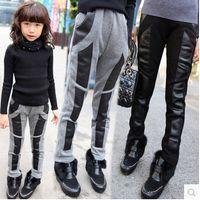 Cheap 2014 Fashion Girls Leggings Tights Autumn Winter Cotton Splicing Leather Velvet Thicken Warm Pants Legging Grey Pencil Pant 5pcs lot A1482