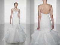 amsale brides - 2016 Sexy New Design Amsale Organza Beaded Crystal Sheer Top Mermaid Wedding Dress White Ivory Formal Bride Gown