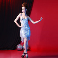 adult summer dresses - sexy New summer adult female Latin Latin dance costume dress costumes performance clothing sequins tassels female racing suit