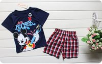 Cheap 60pcs 2015 Hot sale 100% Cotton baby kids pajamas Spiderman superman Micky Summer kids suits Outfits Cartoon kids pajamas sets
