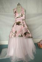 ap photos - AP Pink Realtree Camo Dresses Halter Neckline Hi lo Satin Camo Prom Dresses