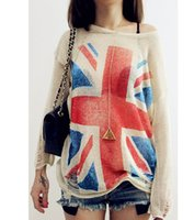 womens jumpers - New Arrivals New Womens Ladies Clothing Knit Union Jack Flag Distressed Thin Casual Styles Jumper Pullover Top Sweaters Dx92