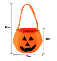 Wholesale Halloween Trick or Treat Pumpkin Candy Bag Basket Cute Non woven Pumpkin Bag Handheld pumpkin bag for children