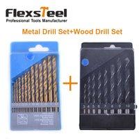 Flexsteel 13PCS HSS Titanium Twist Foret Bits Set à Metal + 8PCS Acier au carbone Manuel Noir Twist Bois foret Bit Set