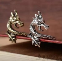 vintage ring - European vintage style exaggerated personality domineering Dragon Ring bronze silver plated alloy rings for men and women