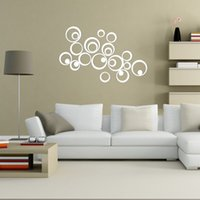 artistic wall decals - Home Decorations DIY Silver Mirror Wall Sticker Artistic Round Wall Decal