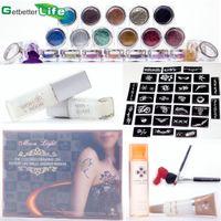 Wholesale Shimmer Body Art Glitter Tattoo Kit WaterProof Stencils Glue Brush Paint