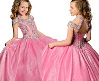 Wholesale Pink White Beauty Pageant Dresses For Girls Ball Gowns Beaded Crystals Children Corset Back Flower Girl Dresses For Weddings