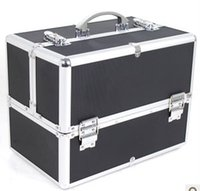 aluminum jewelry boxes - cosmetic case tools jewelry box multi layer make up case with Mirror Aluminum and ABS high quality