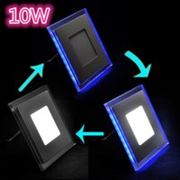 Cheap AC85-265V 10W Double Color Blue+White Warm White Square Shape Ultral Thin 3Modes Change Ceiling LED Panel Light