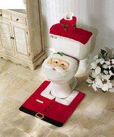 Wholesale 3Pcs Set XMAS Santa Decorations Happy Merry XMAS Santa Toilet Seat Cover and Rug Bathroom Set