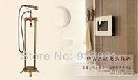 antique telephone stand - And Retail Antique Brass Floor Standing Bathtub Mixer Faucet Telephone Style Floor Mount Tub Tap