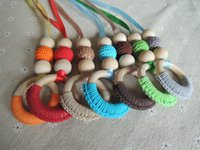 Wholesale New coming colorful nursing toy crochet beads necklace assorted colors wooden teething necklace NW1880