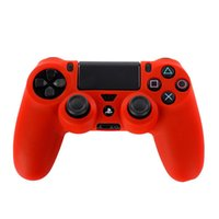 Cheap Soft Silicone Rubber Gel Skin Protective Case Cover Skin For Sony PlayStation 4 PS4 PS 4 Controllers Red Wholesale Freeshipping