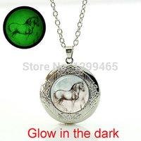 horse jewelry - DA VINCI Horse necklace animal pendant Glass glowing photo locket pendant Glowing necklace womnen jewelry WNK232