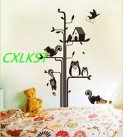 baby classroom - Wall Stickers owl tree squirrels Bedroom kindergarten classroom decoration For Baby Kid Room Brand New Good Quality