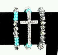 beaded friendship bracelet patterns - Fashion Jewelry Bracelets WOMENS SILVER PLATED CROSS BRACELET WHITE SHAMBALLA TURQUOISE BLUE CLEAR BEADS beaded friendship bracelet patterns