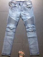 Wholesale 2015 new arrival Summer brand designer blmain blue mens pants demin cotton men s biker jeans European and American style pencil jeans