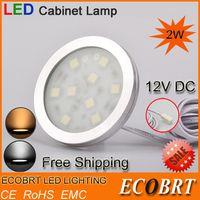 Cheap 12V Ultra-thin Round Aluminum Under Closet bathroom Cabinet lights SMD5050 led Chip 2W Kitchen decoration light 10pcs lot