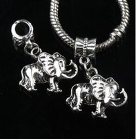 Animals big mammoths - 20x27 mm Antique Silver Small Mammoth Elephant Metal Big Hole Beads Dangle Fit European Charm Bracelets B1171