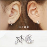 Wholesale 925 sterling silver stud earrings moon and the stars asymmetrical earrings genuine jewelry hypoallergenic ear