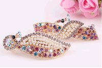 Wholesale 2015 New Full Crystal Rhinestones Hairpin Hair Clip Fashion Peacock Leaves Headwear Barrettes for Women colors can choose