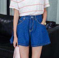 Women Loose Zipper Fly Korean Loose Casual Summer Style High Waist Shorts Skirts 2015 New Blue All-match Slim Pockets Denim Shorts Plus Size S~XL FG1511