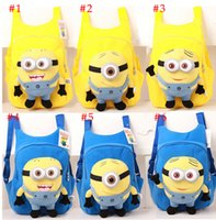 Wholesale 2015 Popular Despicable Me Plush Toy Minions Backpacks For Kids Christmas Birthday Gifts Cotton pieces Stuffed Animals School Bags