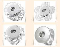 Wholesale NOOSA adjustable silver flower rings Chunk Snap Button Ring DIY Noosa ginger snaps interchangeable Jewelry for women